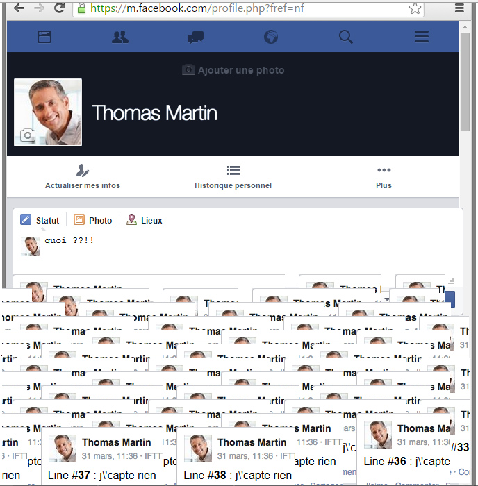 Capture d'écran du site Facebook, 2015